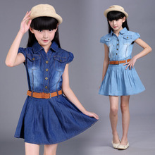 maomaoleyenda Dresses for girls 2017 Girl dressed up Summer Short Sleeve Belt Button Cowboy dress 4 6 8 10 12 14 16year old girl