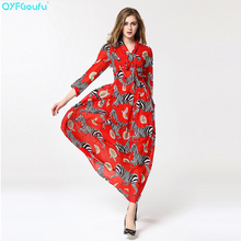 QYFCIOUFU 2018 Summer Red Bohemians Chiffon Maxi Dress Womens 3/4 Sleeve High Quality Animal Printed Bow Runway Long Dress(China)