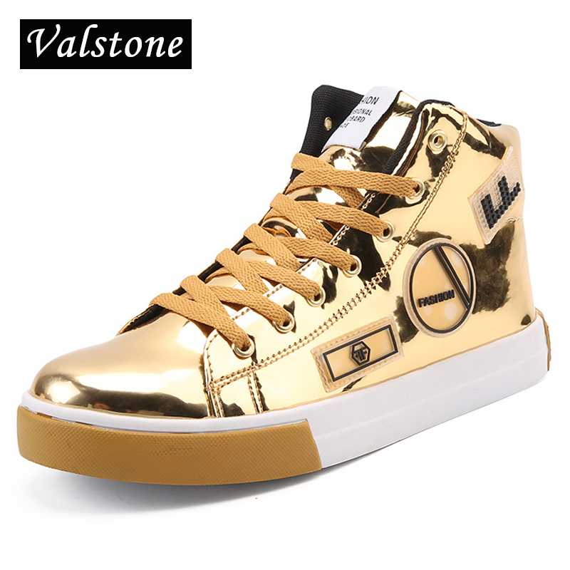 Valstone Men Casual Leather shoes hip hop Gold fashion sneakers microfiber high tops Male Vulcanized shoes silver sizes 39-46<br>