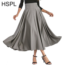 Womens Long Skirts Female For 2018 Spring Fashion Stylish High Waist Vintage Black Skirts With Zipper Behind Fashion Bandage(China)