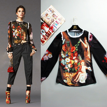 S-XXXXL Angel Fashion Blouse Jacket Long Sleeved Silk Printing Painting Sexy Coat Plus Size Women 2016 And The New summer Runway(China)