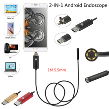 5.5mm 1m 6 Led Smartphone Android Endoscope Camera Ip67 Waterproof Snake Inspection Borescope Tube Mini Android Endoscope(China)