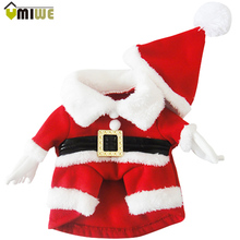 Cute Pet Clothes With Cap Christmas Dog Santa Claus Autumn Winter Outwear Jacket Coat Fleece Warm Jumpsuit For Puppy Small Dogs(China)