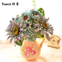 Artificial Flowers Silk Sunflower Bouquets Home Tabletop garden Living room wedding Decoration accessories DIY white blue Orange