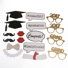 17pcs Mustache On A Stick Photo Booth Props Bachelor Hat Cap Certificate Photobooth Graduate Party Decoration Supplies(China)