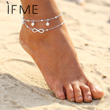 Buy IF ME Fashion Infinity Charms Simulated Pearl Chain Beach Barefoot Sandals Foot Jewelry Boho Chic Anklets Gold Silver Color for $1.25 in AliExpress store