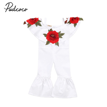 pudcoco 1-6Y Kids Baby Girls fashion red rose Floral ruffle Romper Jumpsuits Trousers Outfit Clothes AU kid baby girl clothing(China)