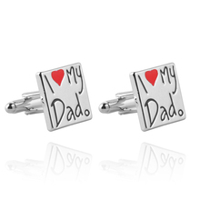 Hot Sale I Love My Dad Cufflinks Letters Zinc Alloy High Quality Cuff Links For Men With Father Best Xmas Gift Fashion Jewelry(China)