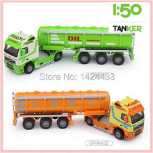 Low Price KDW 1:50 Oil Tank Truck Alloy Plastic Engineering Model Diecast Pull Back Automobile Kids boy Toys Gift for Collection(China)
