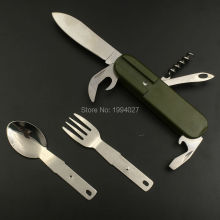 Hot sale multifunction stainless steel pocket knife fork scoop 7 in 1 detachable folding tableware outdoor portable cutlery 10cm