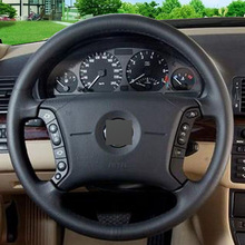 Black Leather Hand-stitched Car Steering Wheel Cover for BMW E46 318i 325i E39 E53 X5