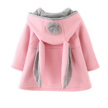 Baby Girls Coat Winter 봄 Baby Girls Princess Coat Jacket Rabbit 귀 Hoodie 캐주얼 겉 옷 대 한 girl 유아에 옷(China)