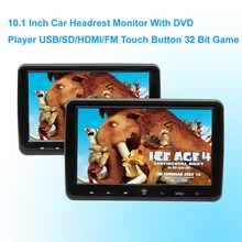 Car DVD Player Headrest Monitor 10.1 Inch 1024*600 LCD Monitor Headrest DVD Player USB/SD/HDMI/FM Touch Button Game   - Black