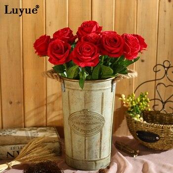 Luyue 10 шт./лот КРАСНЫЙ Свадебные Украшения Роуз Искусственные Цветы Декоративные Цветы из Шелка Главная Партия Декор