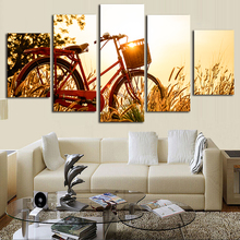 Canvas Wall Art Printed Fashion Painting Modular Framework 5 Panel Bicycle Photo Pictures For Home Decoration Living Room