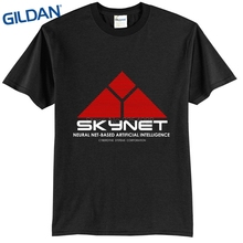 Teenage Natural Cotton Printed Terminator Skynet Couple Design Custom T Shirts full sleeve t shirts for men online(China)