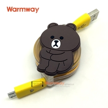 Warmway 2016 New LED Colorful Shining Automatic Contraction Micro USD Date Cable Lovely Design with Retail Box Hot Sale