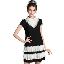L- 5XL Cute Peter Pan Collar Women Short Dress Black And White 2017 Summer New Fashion Mixed Color Patchwork Dresses Plus Size