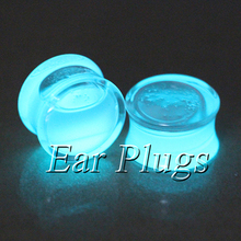 2pcs glow in the dark ear plug gauges transparent acrylic flesh tunnel liquid glow plugs body piercing jewelry PLP0013