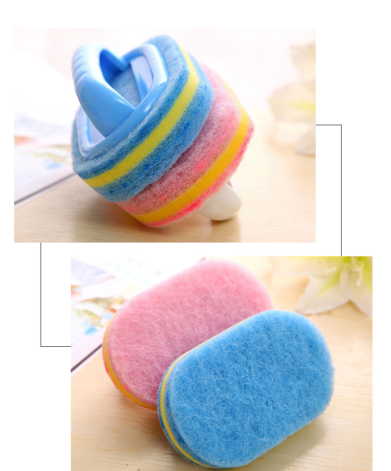 Kitchen Cleaning Bathroom Toilet Kitchen Glass Wall Cleaning Bath Brush Plastic Handle Sponge Bath Bottom 3
