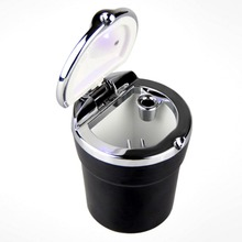 GT-lite Portable Automatic Bracket Cylinder Cup Smokeless Cigarette Yets Ashtray with Blue LED Light Metal Base GTTL116