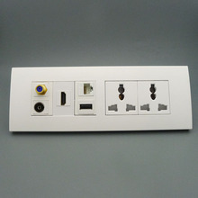 118 wall plate with 2ports power socket, USB, hdmi, RJ45,TV,F head support DIY wall plate