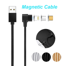L Shape Elbow IOS/Micro USB/USB-C USB Type C Magnetic Charging Cable Lead Cord iPhone Samsung LG Android Phone Charger