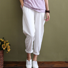 Solid Elastic waist Linen cotton White Women Pants Loose Casual Summer Harem Pants Women Brand Design Full length Trousers C044(China)
