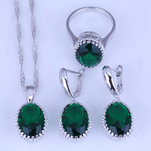 Simple and Elegant Green Imitation Emerald Earrings / Pendant Necklace / Rings 925 Stamp Silver Color Jewelry Sets J0480