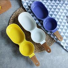 New Creative Ceramic Snack Plate with Bamboo Handle Two Divisions Salad Bowls Cake Pudding Cup Appetizer Dishes Tableware Supply