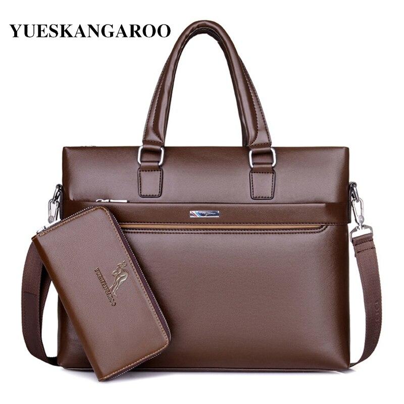 YUES KANGAROO Fashion Men Tote Casual Briefcase Laptop Handbag Business Shoulder Bag Black Leather High Quality Messenger Bags<br>
