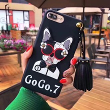 2017 Fashion brand design Cute Korean Glasses Dog Silicone case for iPhone X 8 8Plus 7 7plus 6 6/6s Plus Tassel Drop back cover(China)