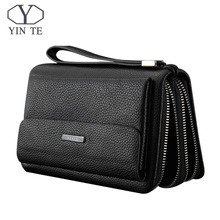 YINTE Men Wallet Double Zipper Genuine Cow Leather Clutch Wallet Purse Fashion Men Long Phone Wallet Man's Clutch Bags 1611-3