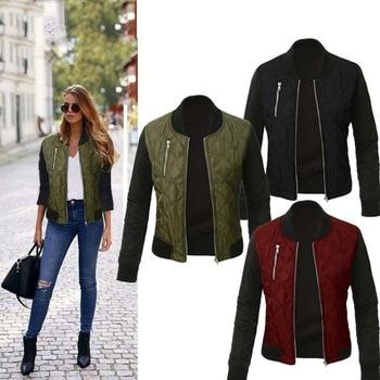 New Fashion Female Casual Color Spliced Short Jacket Coat Long Sleeve Outwear Women Stand Collar Zipper Slim Basic Jacket YF57