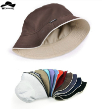 2017 plain Solid bucket hats men reversible two sides can wear 100% cotton sun bob cap comfortable fisherman hat(China)