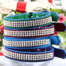 4 Color New Bling Small Dog Collar PU Leather Rhinestone diamond Pet Puppy Cat collar Fashion Necklace Designer Pet Product