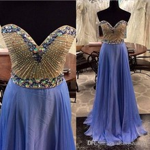 Real Pictures Lavender Prom Dresses with Beading and Diamonds Chiffon A Line Sweetheart Zipper Back Long Dresses Party