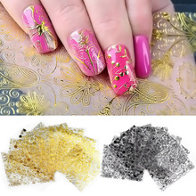 8 Pcs/set Embossed 3D Metallic Nail Stickers Gold Silver White Black Blooming Flower Design Adhesive Nail Art Decoration Tool(China)