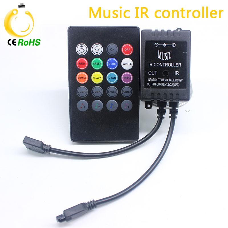 NEW Free shipping Music controller Audio sound sensitive for LED RGB Strip with 20keys IR remote for led ribbion DC12v Black(China (Mainland))