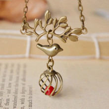 Flyleaf Original handmade retro tree branch bird cage short necklace vintage bronze coral beads pendant necklace for women