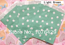 25 Pcs Light Green Polka Dot Treat Craft Bags Favor Food Paper Bags Party Wedding Birthday Decoration Color 11