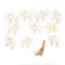 10pcs Elk Wooden Pendant Hanging Christmas Tree Decorations for Home Ornament Wedding Party DIY Xmas Decors Art Craft Kids Gifts(China)