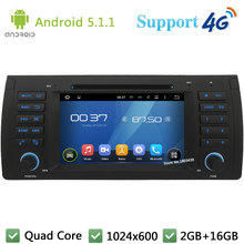 "Quad Core 7"" 1024*600 Android 5.1.1 Car Multimedia DVD Player Radio Stereo DAB 3G/4G WIFI GPS Map For BMW X5 E53 E39 2002-2007(China)"