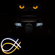 Car Styling 2 color LED Flexible Tube DRL headlamp strip light daytime running light yellow&white auto front lights for all car