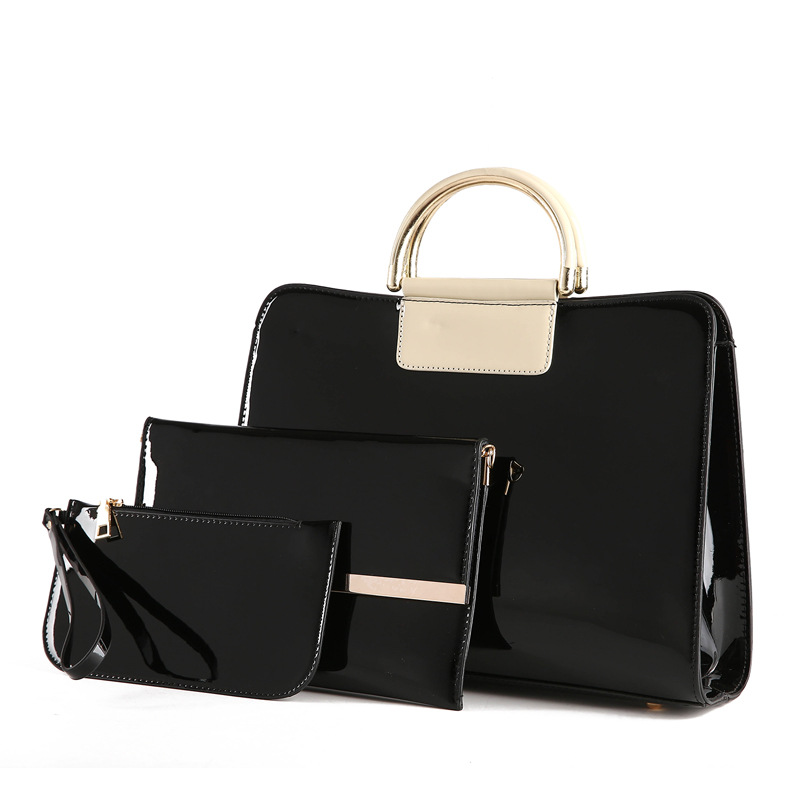 European Fashion Brand 3 Pieces/Set Women Handbags Patent Leather Designer Handbags High Quality Bolsas Feminina Girl Shoulder <br>