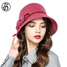 Autumn Winter Elegant Women Black Pink Wool Fedora Wide Brim Flower Bowler Hats For Lady Red Cloche Top Cap Chapeau Femme