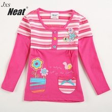 NEAT 2017 new spring and autumn long sleeves round neck girls children's clothing printing embroidery baby girl shirt L181(China)