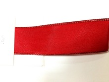 N1093 38mm X 25yards Wired Red Lurex Edge Grosgrain Ribbon. Gift Bow,Wedding,Cake Wrap,Tree Decoration,Wreath