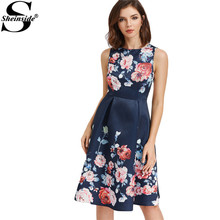 Sheinside Floral Party Dress Women Navy Sexy Cut Out Back Draped A Line Midi Summer Dresses 2017 Elegant Zip Up Sleeveless Dress