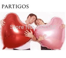 20pcs 75cm Big pink red heart giant balloon for wedding Party decoration valentine's day heart foil balloon helium inflatable(China)
